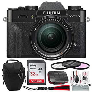 Fujifilm X-T30 4K Wi-Fi Mirrorless Digital Camera with XF 18-55mm Lens Kit - Black with 32GB Bundle and Travel Photo Cleaning Kit