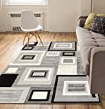 Well Woven Geometric Squares Grey 8x10 (7'10' x 9'10') Area Rug Carpet