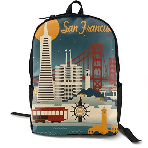 San Francisco, California Travel Business Durable College School Computer Notebook Bag For Women & Men (Best Weekend Getaways From Sf)
