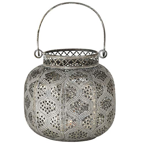 - WHW Whole House Worlds Chubby Belly Candle Lantern, Moroccan Metal Lattice Work, Hurricane for Votives and Tea Lights, Distressed Gold, White Gray Patina, Iron, 5 1/2 Inches