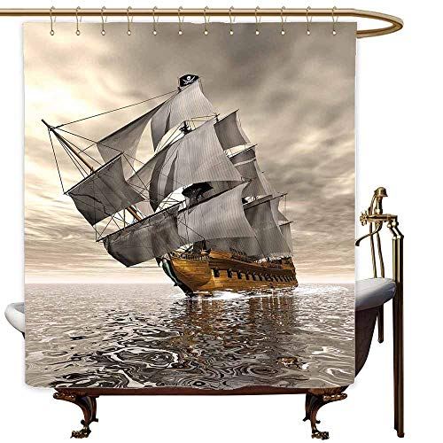 SKDSArts Shower Curtains Texas Ocean,3D Style Pirate Ship Sea Historic Vessel Cloudy Sky Voyage Exploration Theme,Grey Pale Coffee,W60 x L72,Shower Curtain for Bathroom