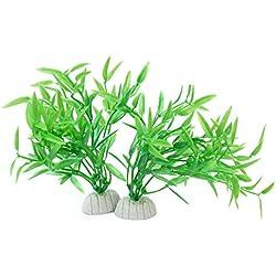 Artificial Aquatic Fake Water Plants Grass Landscaping Aquarium Ornament (2pcs Green)