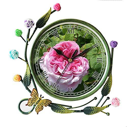 (girlsight Iron Art Living Room Butterfly Flower Leaf Decorative Non-Ticking Quartz, Analog Large Numerals Bedside Table Desk Alarm Clock-538.Rose, Pink, Pink Flower, Summer, Have, Petals)