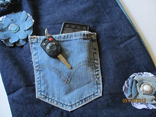 New Item Handmade Two Tone Single Strap Denim Tote Bag, 12x16 Denim Messenger Bag, Denim and Lace and Flowered Bag