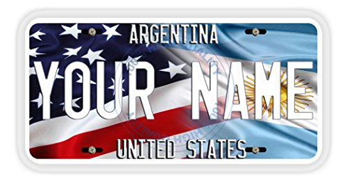 Argentina Flag License Plate - BleuReign(TM) Personalized Mixed USA and Argentina Flag Car Vehicle License Plate Auto Tag