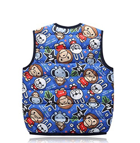 Cartoon Kids royalblue Lightweight Warm Wadded Vest Jacket Children monkey Lemonkids;® Outfits vCq5wXpEx