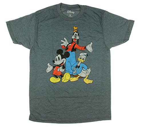 - Disney Big Three Trio Mickey Mouse Donald Duck Goofy T-shirt (Medium, Heather Navy)