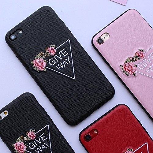 Phone Taschen & Schalen Für iPhone 6 Plus & 6s Plus Stickerei Blumenmuster PU + TPU + PC Material Schützende Rückseite Fall ( Color : Pink )