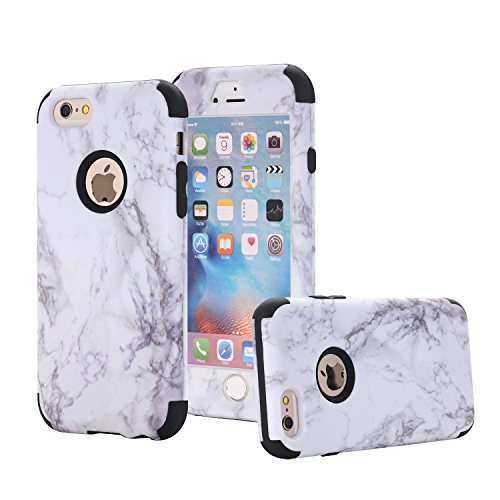 iPhone 6/6S Case, Asstar 3 In 1 Marble Creative Design Slim Flexible Soft Silicone Hard PC Shockproof Anti-Scratch Glossy Protective Cover Case for Apple iPhone 6/6s 4.7 inch (Black)