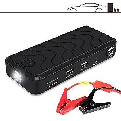 Portable Car Jump Starter, GBB 400A Peak Car Battery Booster 12000mAh Power Bank with LED Flashlight, Emergency Jump Starter - Black (Portable Jump Starter)