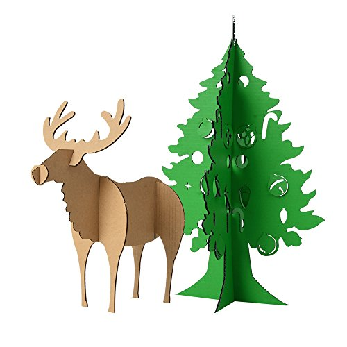 Paper Maker DIY 3D Puzzle Christmas Tree and Simple Reindeer Model Craft Decoration(Simple Reindeer,Green Bell Tree) ()