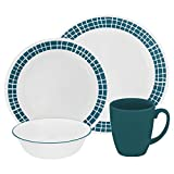 Corelle Livingware 32-Piece Dinnerware Set, Aqua Tiles, Service for 8 (Two 16-Piece Sets)