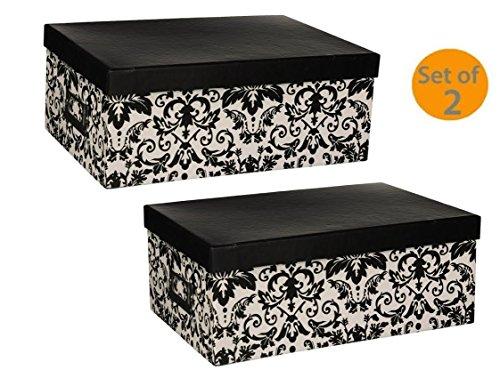 Pioneer Photo Albums Photo Storage Box (Black/White Damask) (Damask Design(Bundle))]()