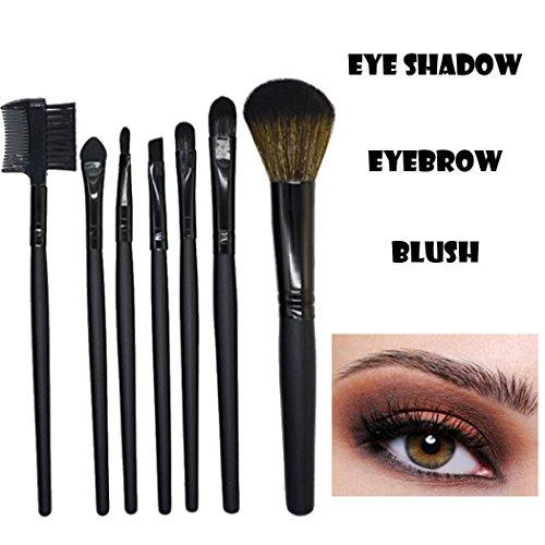 Wood Handle Make Up Brushes Eye Shadow Foundation Eyebrow Lip Brush Makeup Brushes Tool 7pcs (Black)