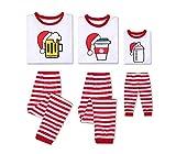 Family Matching Pajamas Sets Christmas Cartoon Pattern Print Long Sleeve Tops and Striped Pants Sleepwear Set (Dad, L)