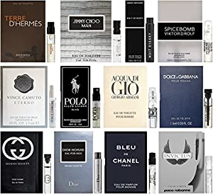 Best Selling Designer Fragrance Sampler for Men - Lot x 12 Cologne Vials from Fragrances
