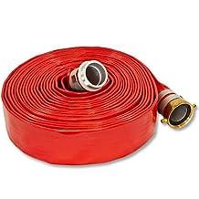 "Red 2.0"" x 50' Medium Duty Lay Flat Discharge Hose and Backwash Hose"