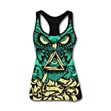 King Owl Tattoos 3D Print Casual Custom Sleeveless Tanks Vest T-Shirt Women Girl XXL