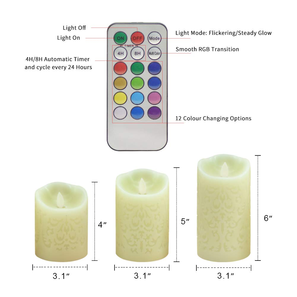 Flickering Flameless Candles, Set of 3 Real Wax Color Changing LED Pillar Candles Battery Operated Realistic 3D Dancing Flame Fake Candles with 18-Key Remote Control for Birthday Wedding Party