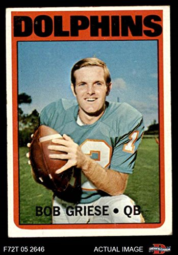 1972 Topps # 80 Bob Griese Miami Dolphins (Football Card) Dean's Cards 4 - VG/EX Dolphins