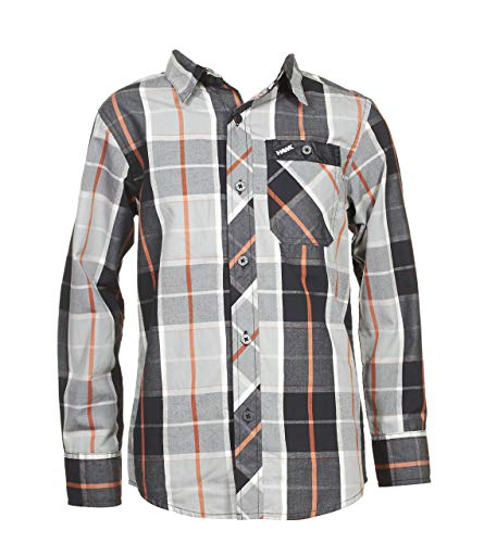 TONY HAWK Boys Long Sleeve Button Down Plaid Shirt Black 14/16