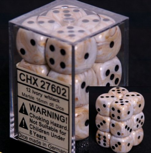 Chessex Dice d6 Sets: Marble Ivory with Black - 16mm Six Sided Die (12) Block of Dice (1-Pack) by Chessex