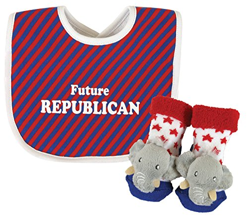 The Republican Elephant (Stephan Baby Stripy Bib and Elephant Rattle Socks Gift Set, Future Republican)
