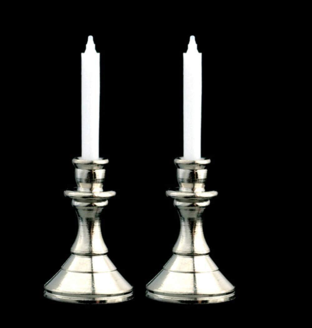 Miniature Pair Sturdy SILVER Candlesticks w//White Candles DOLLHOUSE
