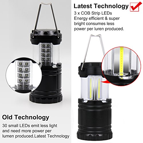 4 Pack Portable Outdoor LED Camping Lanterns Battery Powered Lantern Latest Technology Black Waterproof Collapsible Suitable for Field Basement Warehouse Night Fishing