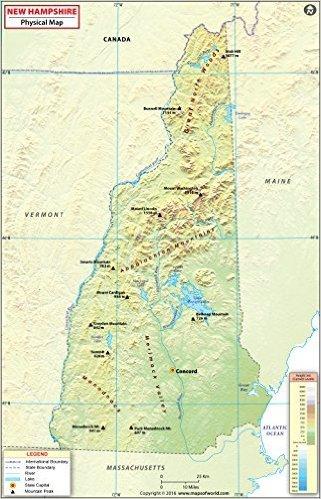 Amazon.com : New Hampshire Physical Map - Laminated (36