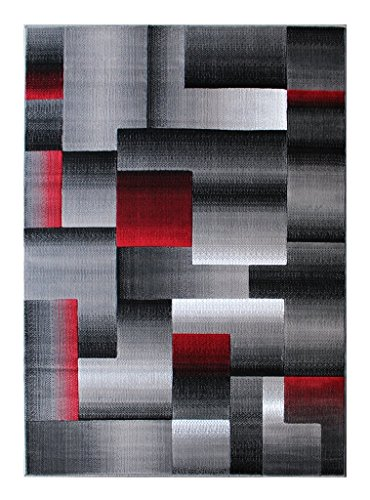 Rugs 4 Less Collection Abstract Contemporary Modern Area Rug, Red Grey Black Design R4L 861 (5'X7') (Black Red Grey Area Rug)