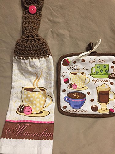- Free ship to USA - 1 CROCHET KITCHEN hand TOWEL LIGHT weight terry cloth and Coordinating hot pad - Coffee Cup & Chocolate Cherry Candy - Warm Brown 100% acrylic yarn crochet top