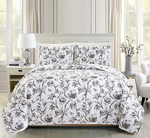 Great Bay Home Bella Collection 3 Piece Quilt Set with Shams. Reversible Floral Bedspread Coverlet. Machine Washable. (King, Charcoal)