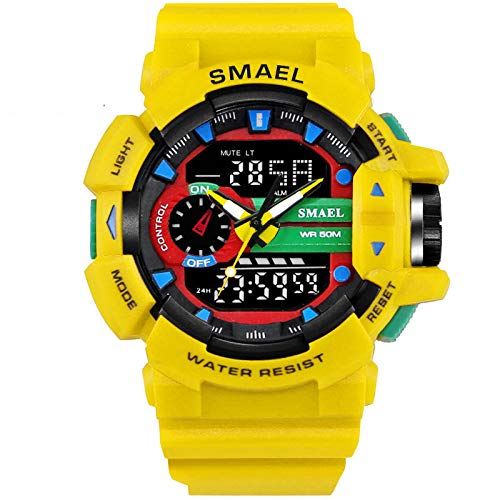 Ltd Yellow Watch - Psalmtrading SMAEL Men's/Women's Sports Analog Quartz Watch Dual Display Waterproof Digital Watches with LED Backlight 1436 (Yellow)