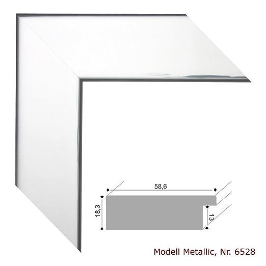 Bilderrahmen Metallic Silber Glanzend 60x60 Cm Komplett Mit