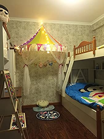 children play tent bed canopy with 40 led lights