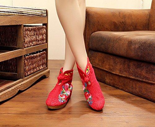 Lazutom, Damen Stiefel & Stiefeletten Rot