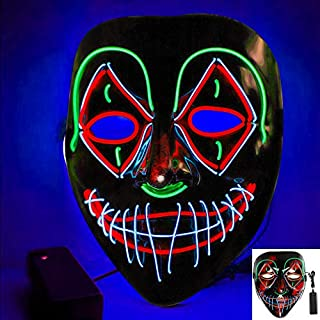 Scary Halloween Mask, Halloween LED Light Up Mask, Purge Mask for Festival Cos-play Halloween Costume Masquerade Parties, Carnival