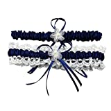 ZYLLGF Lace Wedding Garters Bridal Garter Sets for Bride Pearl Stretch Prom Garter with Toss (Navy Blue)
