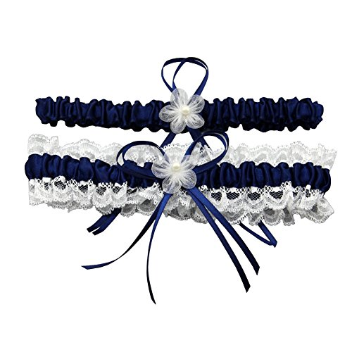 ZYLLGF Lace Wedding Garters Bridal Garter Sets for Bride Pearl Stretch Prom Garter with Toss (Navy Blue) by ZYLLGF