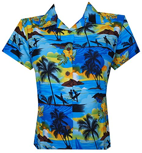 Hawaiian Shirt Women Allover Flower Aloha Beach Camp Swim Top Blouse