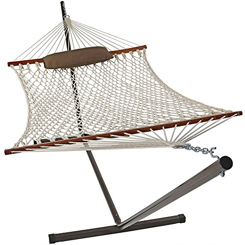 Sunnydaze Desert Stripe Cotton Rope Hammock with 12 Foot Steel Stand, Pad and Pillow—275 Pound Capacity