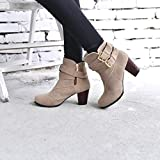 Hemlock Ankle Boots Women,Ladies Winter Dress Boots Zipper High Heels Booties Shoes Pointed Top Boots (US:7.5, Beige)