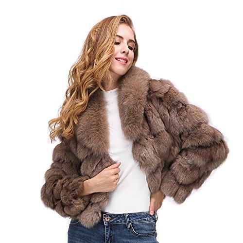 MAGUBA Female Real Fur Collar Full Sleeve Slim Casual Natural Fox Fur Coat