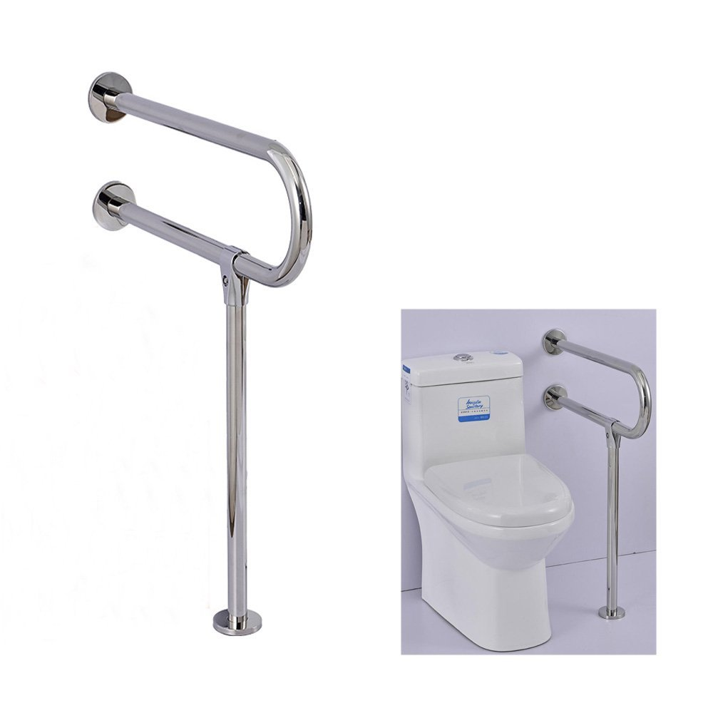 Handicap Rails Toilet Disabled Seat Handicapped Handrails Accessories Free Standing Handrail Bathtub for Elderly Support Commode Adjustable Safety Bars Grab,One PCS(Stainless Steel) by Banana dog