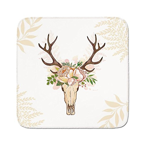 Pads Cushion Area Rug,Antler Decor,Horns Soft Flowers Bouquet Spring Nature Theme Rustic Home Decor Decorative,Peach Light Pink Brown,Easy to Use on Any Surface (Light Brown Horn)