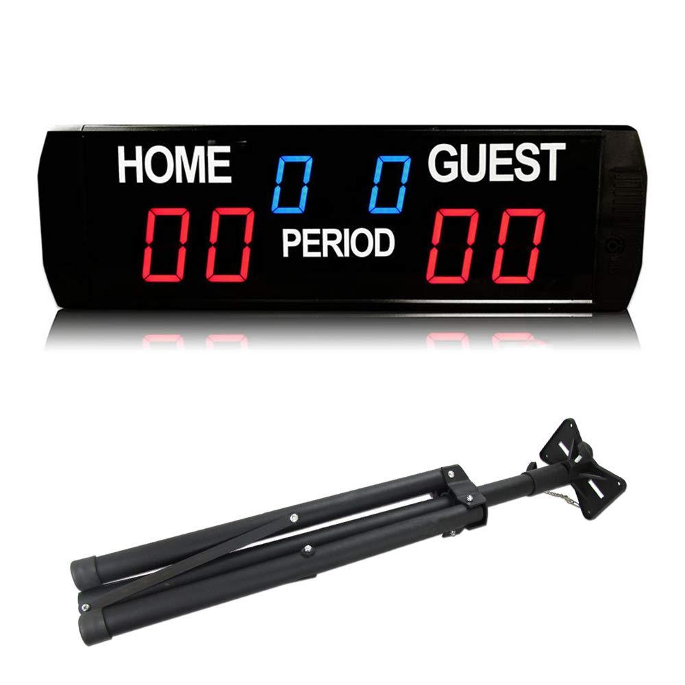 Huanyu LED スコアボード 試合得点板 電子6桁タイマー 計時 長さ618mm 試合用スポーツタイマー バスケ/サッカー/バドミントン/テニス 競技 対戦 試合用  スコアボード+三脚