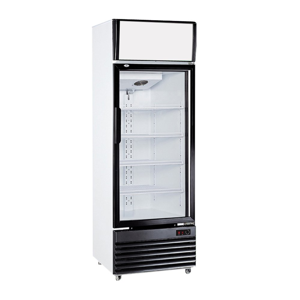 Glass Display 1-Door Frost Free Milk Beer Beverages Showcase Commercial Refrigerator Merchandise Ventilated Upright Cooler 10.9 cf. Cabinet 308L Cold Storage