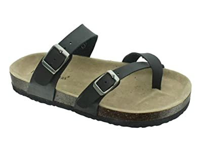 eeb217ee068a1 OUTWOODS Women s Bork-30 Vegan Leather Slide On Toe Loop Sandals