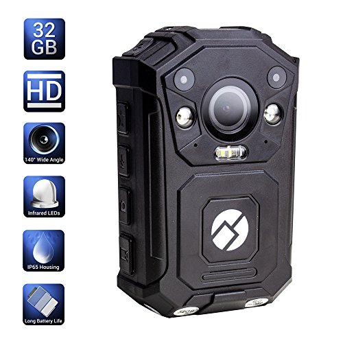 R-Tech HD 1080P+ Up to 1296P(2034 x 1296) Infrared Night Vision Police Body Camera Body Worn Camera Security IR Cam with 32GB Built-in Memory Support Video/Audio Recording by R-Tech